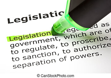 """de, woord, """"legislation"""", aangepunt, in, groene"""