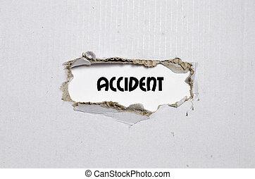 de, woord, ongeluk, verschijnen, achter, gescheurd document