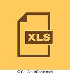 de, xls, icon., bestand, formaat, symbool., plat