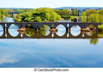 de, zamora, pont, travers, piedra, rivière, puente, douro