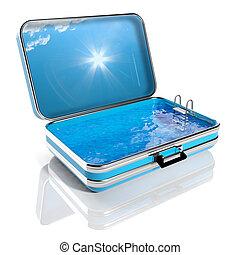 de zomervakantie, concept., reizen, koffer, met, zwembad,...