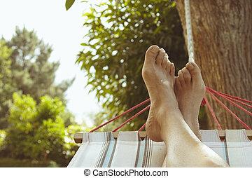 de zomervakantie, in, de, hangmat