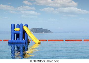 de zomervakantie, scène, met, waterglijbaan