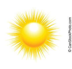 de, zon, met, scherp, stralen