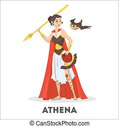dea, antico, carattere, greco, mythology., femmina, athena
