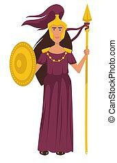dea, antico, oro, armatura, carattere, isolato, greco, femmina, athena