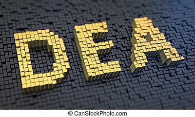 DEA cubics - Acronym 'DEA' of the yellow square pixels on a...