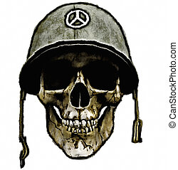 dead american soldier - a human skull of a dead soldier. a...