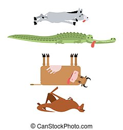 Dead animals set 3. Donkey and crocodile. Cow and kangaroo....