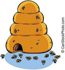 Dead Bees - A cartoon beehive surrounded by dead bees.