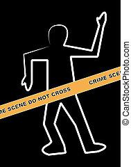 dead body outline with crime scene do not cross banner
