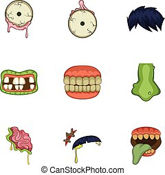 Dead body part icons set, cartoon style