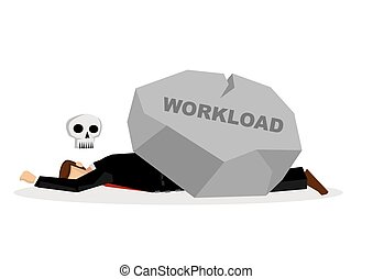 Dead business employee under a giant rock title workload....