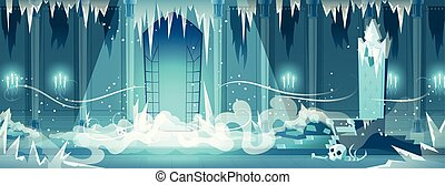 Dead castle frozen throne room cartoon vector