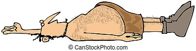 Dead caveman - This illustration depicts a dead caveman...