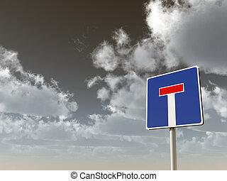 dead end - roadsign dead end under cloudy sky - 3d...