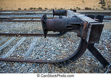Dead end of a railway train, side view - Wide angle view of...