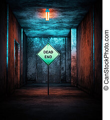 Dead end, Road sign in abandoned house