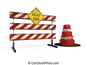Dead End Sign isolated on white background. 3D render
