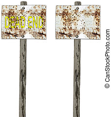 Dead end traffic sign isolated