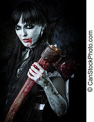 Dead female zombie with bloody axe