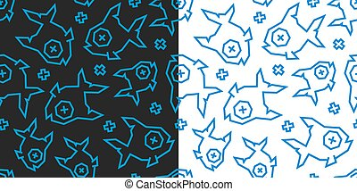 Dead fish low poly seamless pattern. Black and white background, 2 versions.