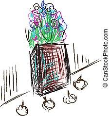 Dead flowers, illustration, vector on white background.