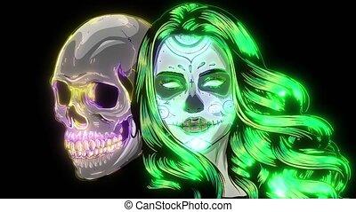 Dead girl with sugar skull. video - Dead girl with sugar ...