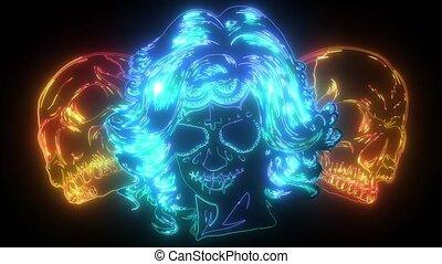 Dead girl with two sugar skulls. digital neon video - Dead ...