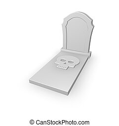 dead - gravestone with skull on white background - 3d...