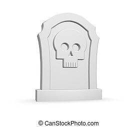 dead - gravestone with skull on white background - 3d...