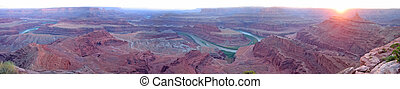 Dead horse point with the Colorado river at the sunset, Canyonlands National Park, United States, Large Panorama
