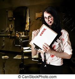 Dead hospital nurse holding bad health checklist