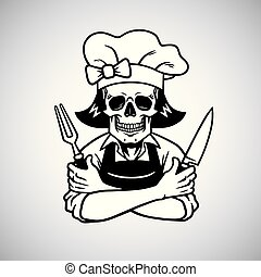 Dead Lady Skull Chef Logo Grinning with Fork, Knive, and Hat. Vector Drawing