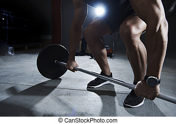 Dead lift made by athlete man