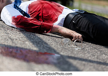 Dead man after car accident - Dead bleeding man after car...