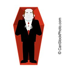 Dead man in coffin isolated. corpse in casket on white...