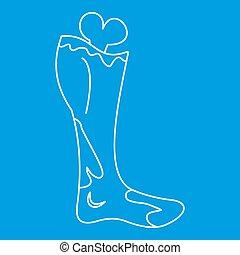 Dead man leg icon, outline style