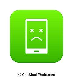 Dead phone icon digital green