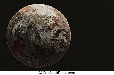 Dead planet earth in the space.