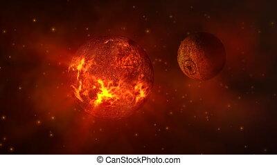 Dead planet in space
