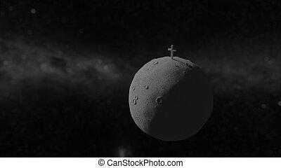 Dead planet with cross obelisk 3d illustration