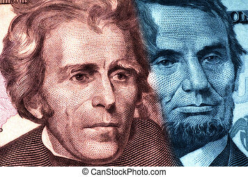 Dead Presidents - Headshot of Jefferson and Lincoln With...