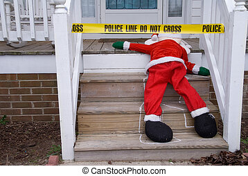 Dead Santa - The body of Santa Claus at a crime scene.