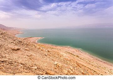 Dead sea coast at twilight, Israel