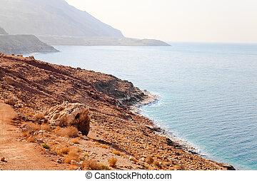 dead sea coastline at jordan