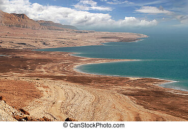 Dead sea coastline in Arava desert.