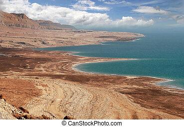 Dead sea coastline in Arava desert.