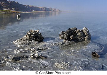 Dead Sea Mud Mineral in the water of the Dead Sea, Israel.