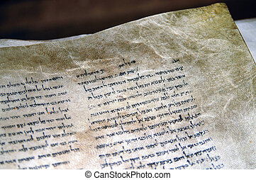 QUMRAN, ISR - SEP 27:The Dead Sea Scrolls on display at the caves of Qumran on Sep 27 2007.They are a collection of 972 Hebrew Bible texts discovered between 1946-1956 at Khirbet Qumran, Israel.